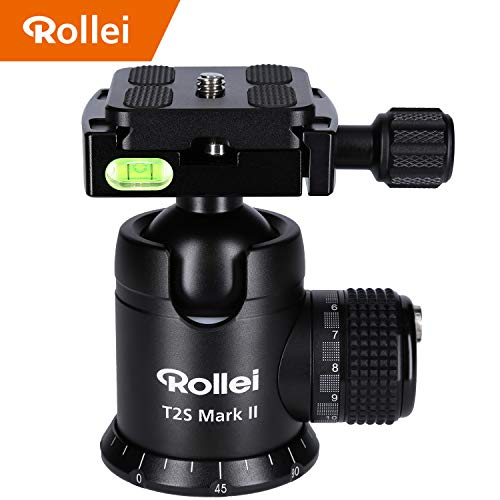 Rollei T2S Mark II - professioneller 360 Grad Kamera Stativ Kugelkopf mit Friktion, 15KG Tragkraft, Skalierung für Panorama Aufnahmen und 2 Wasserwaagen, Arca Swiss kompatibler Schnellwechselplatte