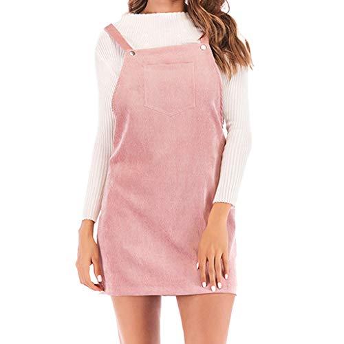 OYSOHE Damen Trägerkleid Beiläufig Ärmellos Slim Fit Einfarbig Corduroy Kleid (Medium, Rosa)
