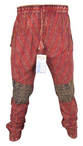 Tapered Multicolore Patch Casuali Elastici di Cotone Hippie Pants B