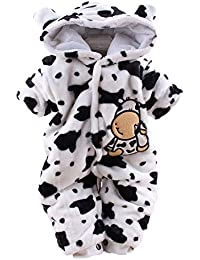 Deloito Newborn Rompers, Baby Girl Boy Cartoon Dairy Cow Velvet Jumpsuit Hooded Romper Winter Warm