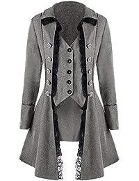 Moonuy Männer Lange Mantel Mann Halloween Frack Jacke Gothic Gehrock  Uniform Fitted Slim Mode Kostüm Praty… 112bd6b327