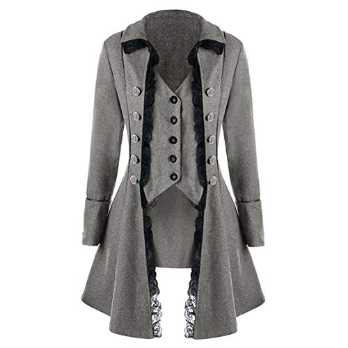 Moonuy Männer Lange Mantel Mann Halloween Frack Jacke Gothic Gehrock Uniform Fitted Slim Mode Kostüm Praty Outwear