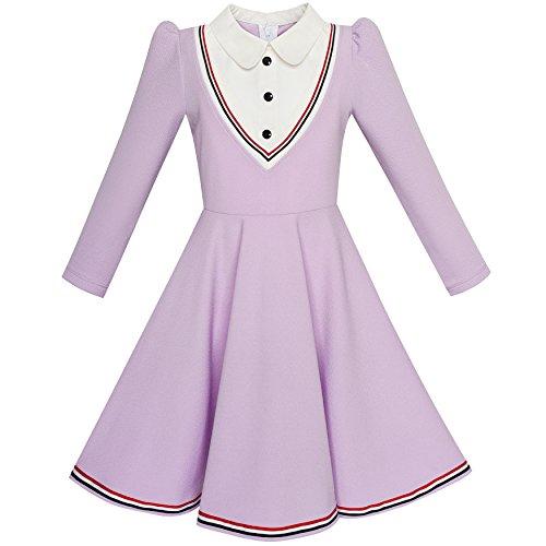 (Mädchen Kleid Schule Uniform Weiß Kragen Lila Lange Ärmel Gestreift Gr. 122)