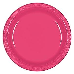 Amscan International Amscan 552285-103 - Plato de plástico (22,8 cm, 10 unidades), color rosa
