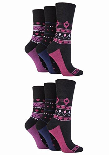 NEW: 6 Pairs Ladies Gentle Grip No Elastic Socks 4-8 uk, 37-42 eur