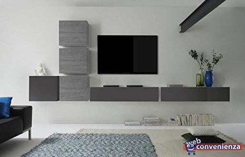 Web convenienza cube 8 g antracite lucido e rovere grigio composizione soggiorno mobili sospesi legno