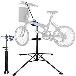 Soporte de reparación de Bicicleta, Soporte de Mantenimiento Ajustable para Bicicleta, Soporte de Trabajo mecánico de reparación con Abrazadera Suave y Bandeja de Herramientas