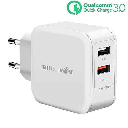 [Quick Charge 3.0] USB Ladegerät, BlitzWolf 30W 2-Port Wall Charger Reiseadapter Netzteil mit QC 3.0 Schnelle Ladefunktion & 2.4A Power3S Technologie für Handy, Smartphone, iPad, MP3 usw(Weiß) -