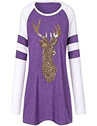 Lazzboy Femme Festival NoëL Blouses Renne Paillette Impression Col Rond  Veste T-Shirt 5f6da1f70b52