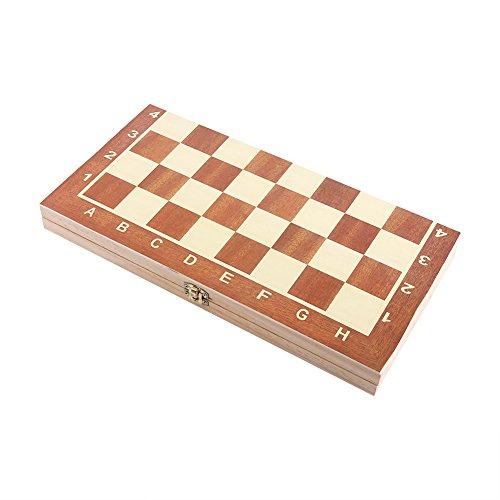 VGEBY1 Magnetisch Schachspiel 2 In 1, hochwertige Schachbrett Schachfiguren Holz Schachspiel Schachkassette Schach Brett mit Magnetverschluss