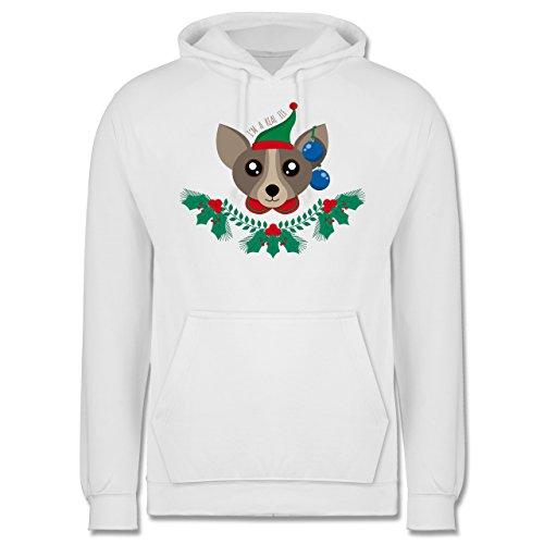 Weihnachten & Silvester - Chihuahua Weihnachts-Elfe - Männer Premium Kapuzenpullover / Hoodie Weiß