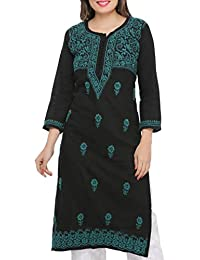 ADA Hand Embroidered Lucknow Chikan Womens Cotton Kurti Kurta (A420426_Black)