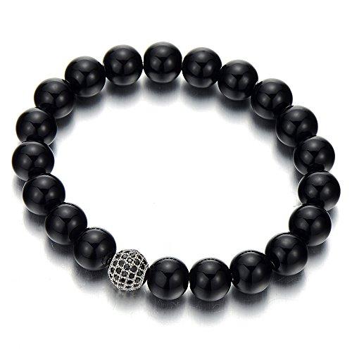 10MM Damen Herren Armband Schwarz Onyx Perlen mit Schwarz Zirkonia Charm Synthetischen Onyx