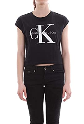 Calvin Klein Jeans Women's Cropped Logo T-shirt, Black
