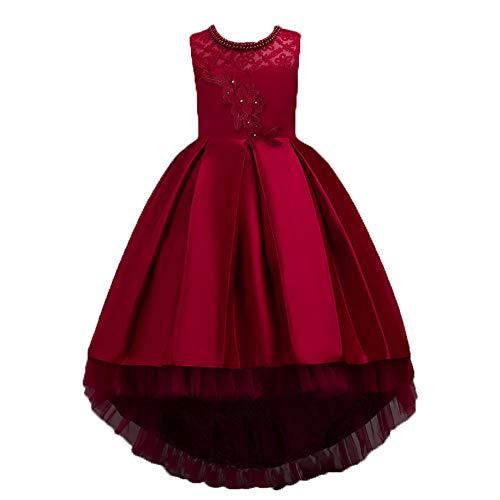 Mbby vestiti cerimonia bambine,4-16 anni vestito da carnevale per bambina abiti principessa senza manica fiori in pizzo tulle abito tutu per ragazza