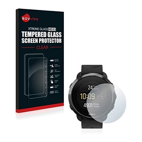 Savvies HD33 Tempered Glass - Displayschutz für Suunto 3 Fitness (extrem Kratzfest (9H), Hohe Transparenz, schmutzabweisend, Abgerundete Kanten)
