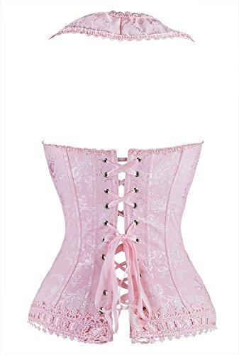 Kimring Women's Fashion Elegant Halter Satin Jacquard Lace Edge Corset Rosa