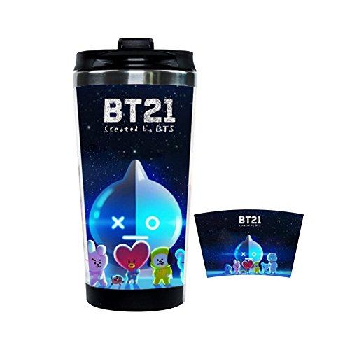 Kingmia BTS Bangtan Boys Wasserflasche BPA Frei Wasserflasche Edelstahl 350ml Edelstahl Trinkflasche mit Kunststoff Außenschale Doppelflaschen Design (H09) -