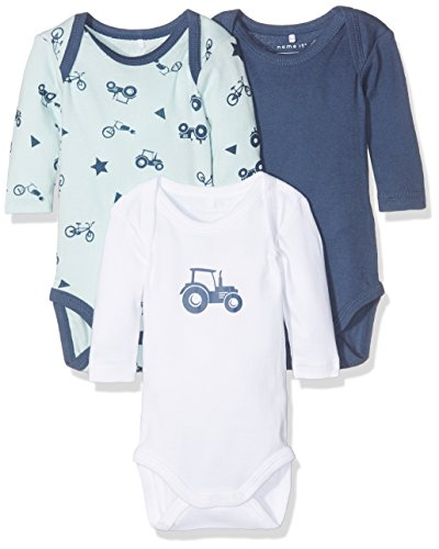 NAME IT Baby-Jungen Body Nbmbody 3P LS Ensign Blue Noos Mehrfarbig (Ensign Blue), 62