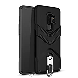 Elove Dual Layered Shockproof 360 Degree Rotating Heavy Duty Protection Case for Samsung Galaxy S9 Plus (Black)