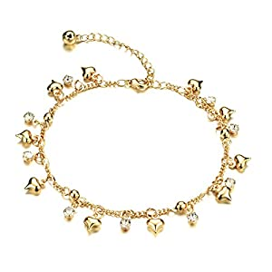 iLove EU Vergoldet Armband Fußkette Fußkettchen Fußschmuck Zirkonia Gold Herz Glöckchen Charm Charme Damen