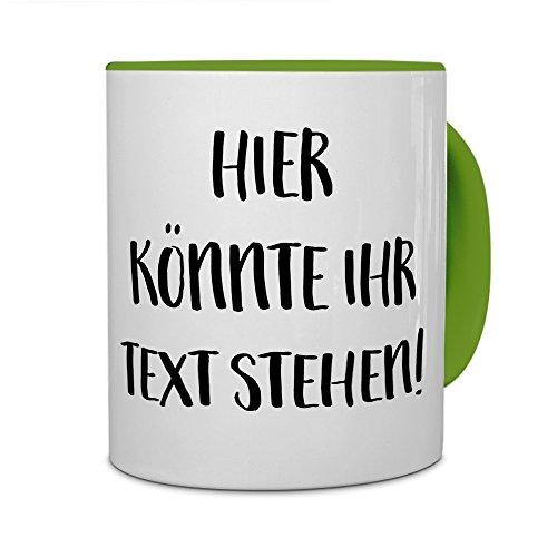 printplanet - Tasse mit eigenem Text Bedrucken Lassen - Kaffeebecher mit Wunschtext oder Spruch Personalisieren - Becher Grün