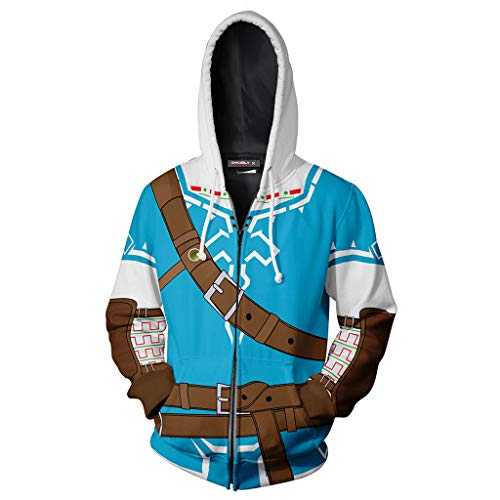 Yujingc Unisex Adult Anime Cosplay Kostüm Jacke 3D gedruckt Reißverschluss Hoodie Blue Hooded Sweatshirt Oberbekleidung Cartoon Sportjacke,Blue,2XL (Spider Kostüm Für Kleinkind Mädchen)