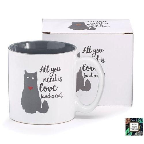 Burton & Burton Kaffeetasse All You Need is Love (und a Cat) aus Keramik, mit rotem Herz, 340 ml