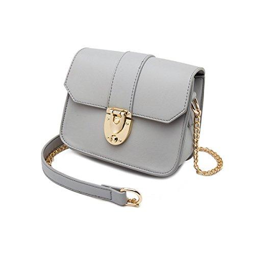 b5f957e1d5771 Damen Ketten Tasche Schultertasche Umhängetasche Mode Elegante Vintage  Kleine Handtaschen Mini Black Bag Grey