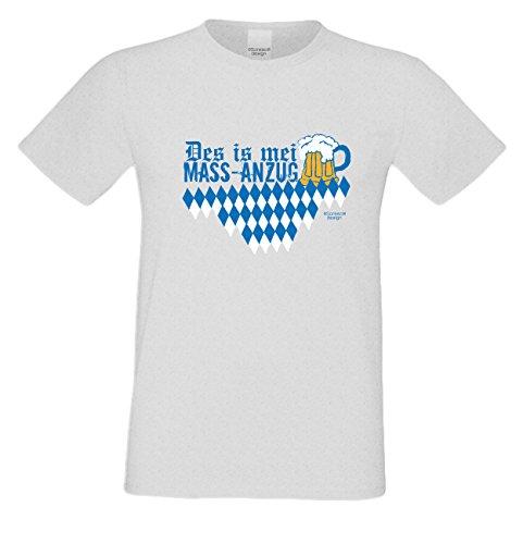 Des is mei Mass - Anzug Herren T-Shirt mit lustigem Fun-Sprüche-Motiv Volksfest Oktoberfest Trachtenshirt Geschenk für Männer Farbe: grau Grau