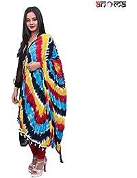 ANOMA 100% Cotton Multicolour Multicolour Colored Dupatta For WOMEN
