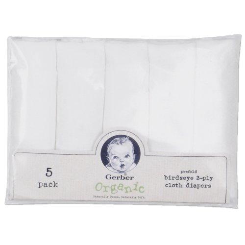 Gerber Childrenswear Organic Diaper 5 Pack - White