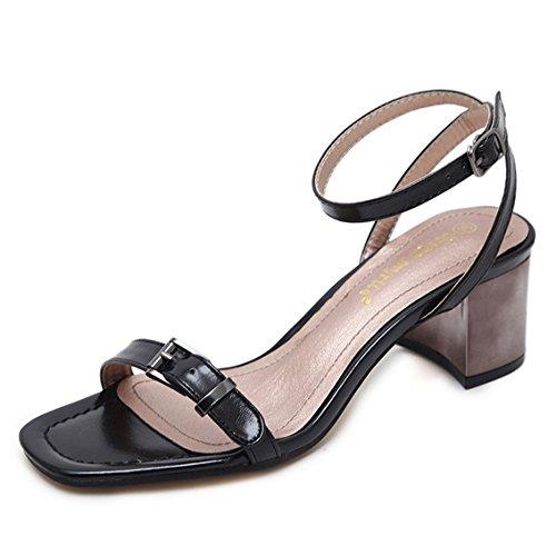 PPFME Damen Sandalen Schnalle Sexy Block High Heel Ankle Strap Schuhe Damen Peep Toe Klassische Abend Prom Pumps,Black-EU35=225 Ankle Strap Dorsay Pump
