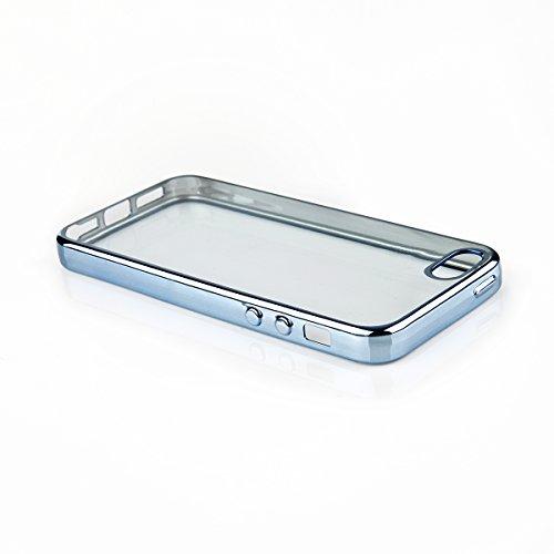 """Silikon TPU Chrom Case Schutz Hülle für iPhone 6 /6s Plus 5.5"""" Kupfer Metallic Handy Tasche transparentes Back Case mit buntem Rand Schutzhülle Crystal Gehäuserückseite Sparkles Bumper Blau"""