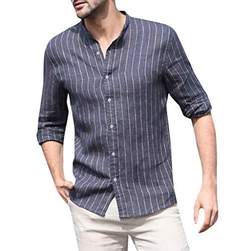DNOQN Top Herren Long Tee Männer Herren Bluse Baggy Baumwolle Leinen Gestreift Langarm Knopf Retro T Shirts Tops XL
