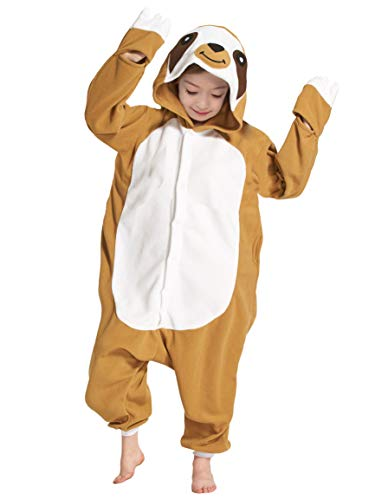 Karton Fasching Karneval Halloween Kostüm Kinder Mädchen Junge Kigurumi Sleepsuit Overall Pyjama Unisex Lounge Cosplay Schlafanzug, Faultier ()
