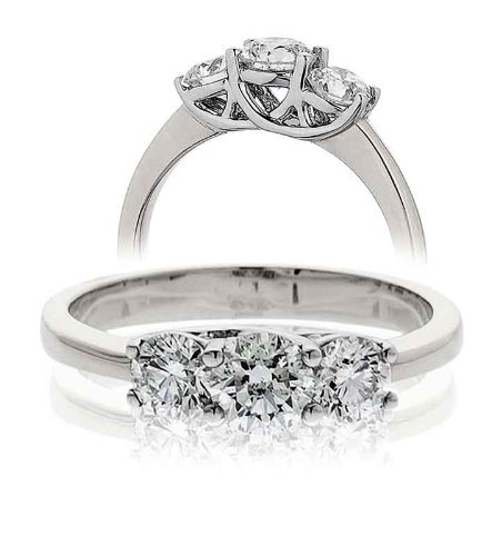0.50CT Certified G/VS2 Round Brilliant Cut Claw Set Three Stone Diamond Ring in 18K White Gold