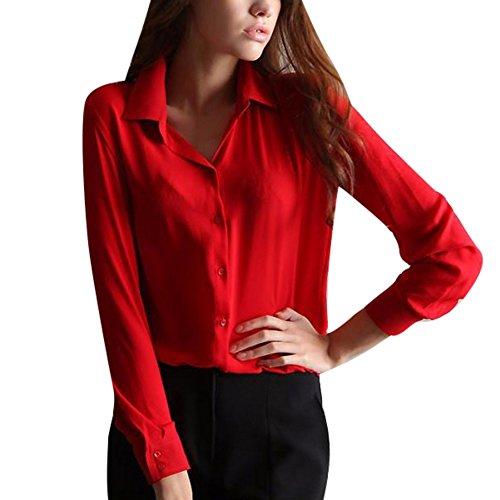 Yalatan Damen Casual Langarm Taste nach unten Revers Hals Chiffon Top Bluse Hemd Shirts (Taste Shirt Nach Unten Damen)