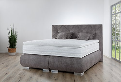 Boxspringbett Breckle Arga Palace - Premium Qualität - (180 x 210 cm, inkl. Gel-Topper & Kissenset)