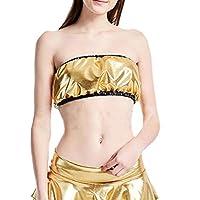 Women Sexy Clubwear Metallic Strapless Crop Tube Tops Bandeau Bra Golden XL