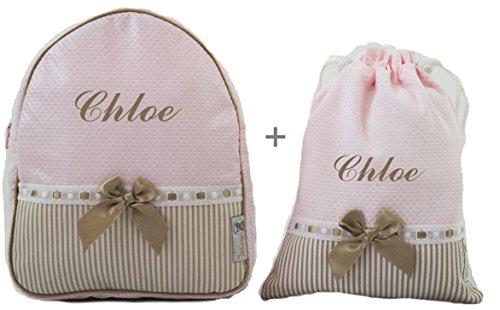 BORDAYMAS/Conjunto guardería o colegio: Mochila + bolsa de merienda lenceras personalizadas con nombre en plastificado y tela rosa, rayas camel y pasacintas camel