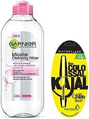Garnier Skin Naturals, Micellar Cleansing Water, 125ml And Maybelline New York Colossal Kajal, Black, 0.35g