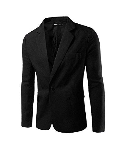 Herren Sakko Blazer Slim Fit Business Lässig Ein Knopf Jacke Blazer Sakko Schwarz M (Lässige Blazer-jacke)