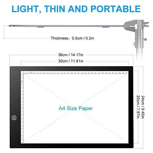 A3 / A4 LED Mesa Luz 5mm Super Ligero Tablero Portátil
