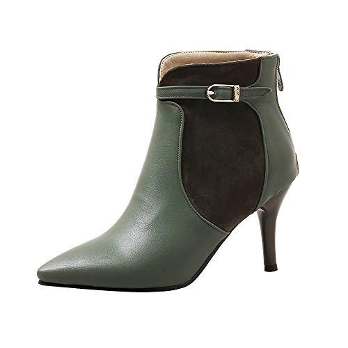 iHAZA Scarpe A Stiletto A Punta Delle Donne Stivali Cintura Fibbia Stivali Nudi Indietro Zip Ladies Boot