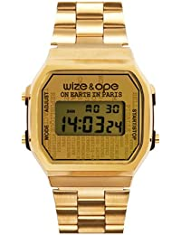 Wize & Ope 1970-PA - Reloj digital de cuarzo unisex, correa de otros materiales color dorado