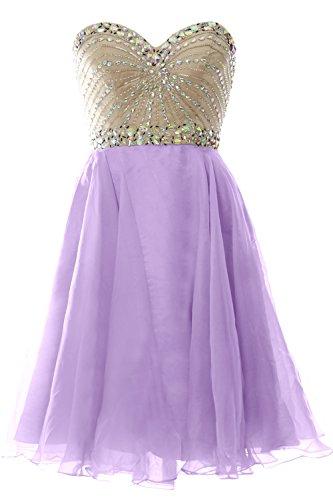 MACloth 2016 Women Strapless Chiffon Short Prom Dress Wedding Party Formal Gown Lavendel