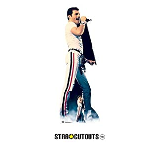 Star Cutouts CS700 Figura de cartón de tamaño real de Freddie Mercury 1982 color con soporte de escritorio gratuito Standee perfecto para fans, fiestas, coleccionistas y eventos, multicolor