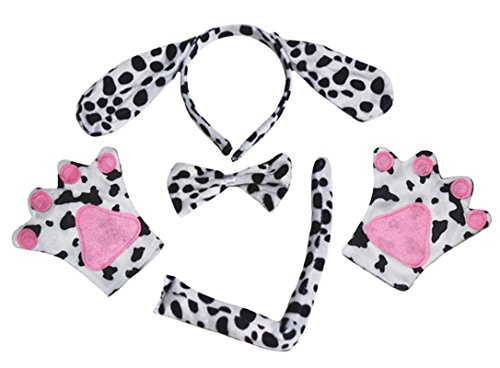 Dalmatiner Hund Stirnband Schleife Schwanz Handschuhe schwarz Tutu 5-teiliges Mädchen Kostüm für Party Gr. One size, (Kostüm Dalmatiner Für Kinder)