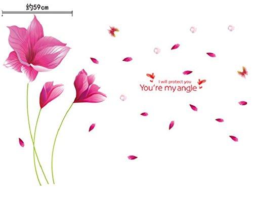 BABYQUEEN Pegatinas De Pared Desmontable Creativa Salón Tv De Pared De Fondo Romántico Pegatinas Decorativas Caliente Serie Rosa Soplo De Primavera
